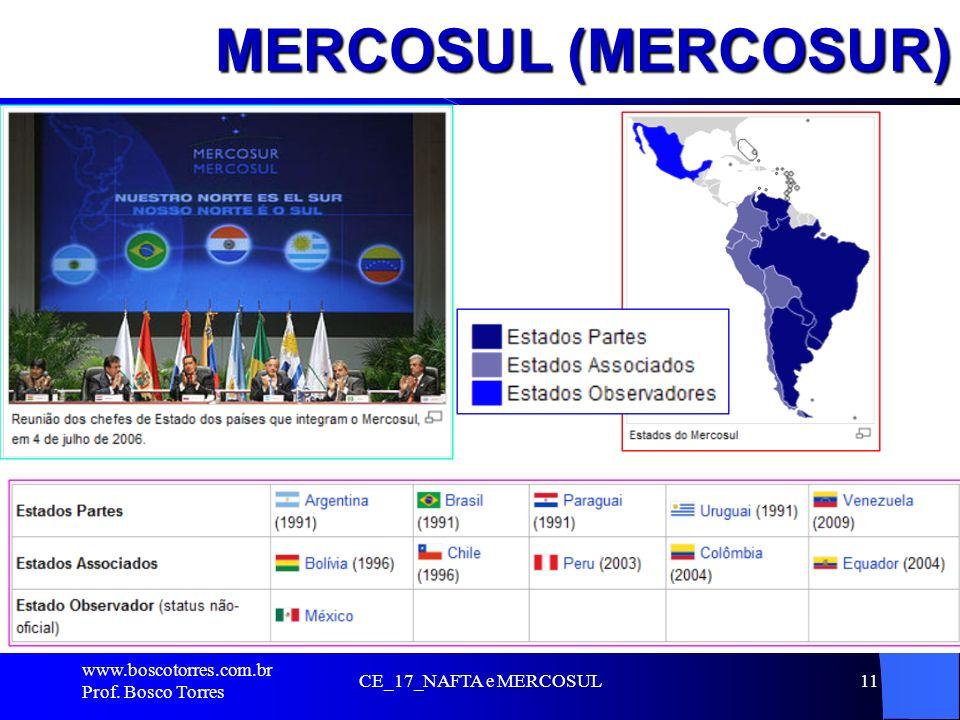 MERCOSUL (MERCOSUR). www.boscotorres.com.br Prof. Bosco Torres CE_17_NAFTA e MERCOSUL11