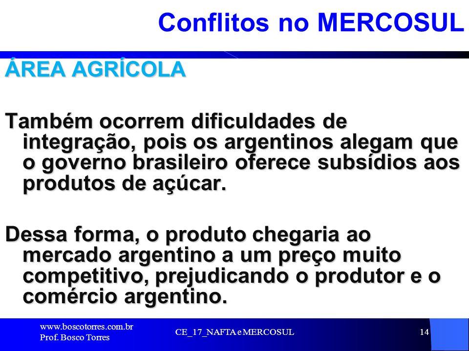 CE_17_NAFTA e MERCOSUL14 Conflitos no MERCOSUL ÁREA AGRÍCOLA Também ocorrem dificuldades de integração, pois os argentinos alegam que o governo brasil