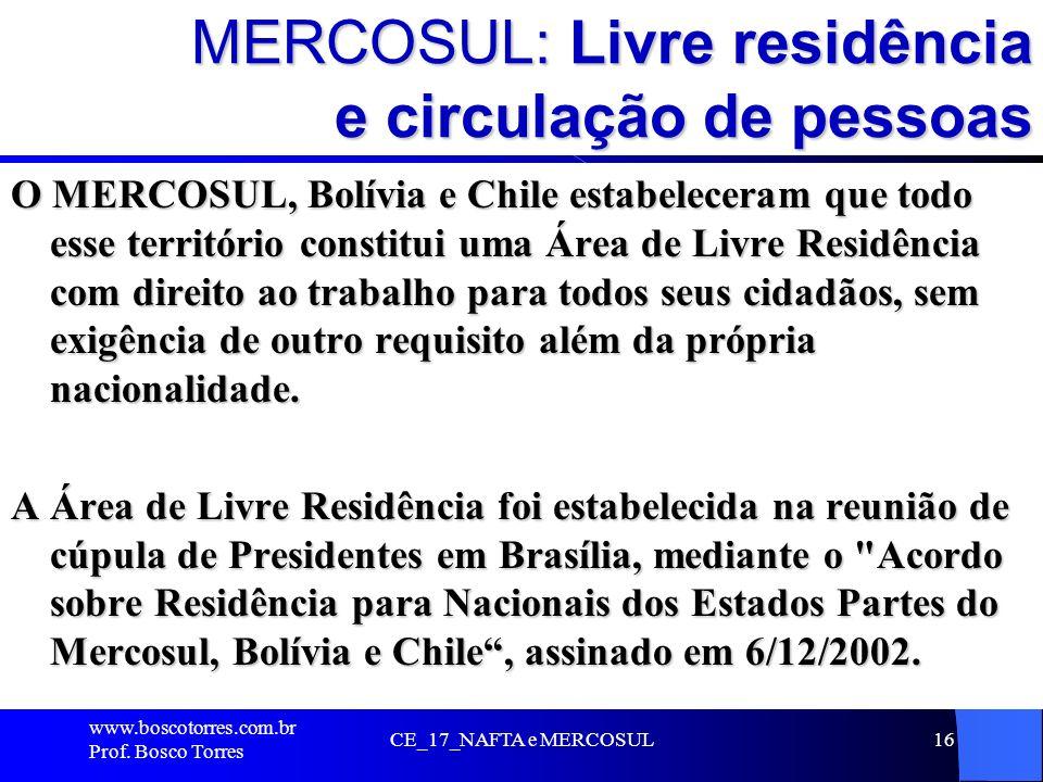 MERCOSUL: Livre residência e circulação de pessoas O MERCOSUL, Bolívia e Chile estabeleceram que todo esse território constitui uma Área de Livre Resi