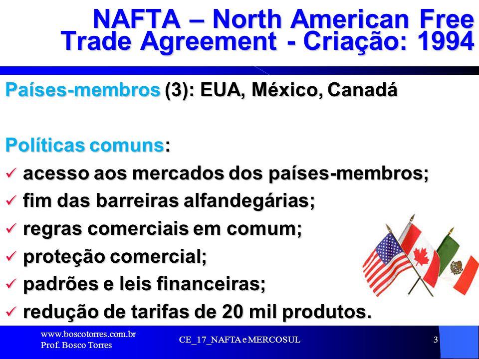 3 NAFTA – North American Free Trade Agreement - Criação: 1994 Países-membros (3): EUA, México, Canadá Políticas comuns: acesso aos mercados dos países