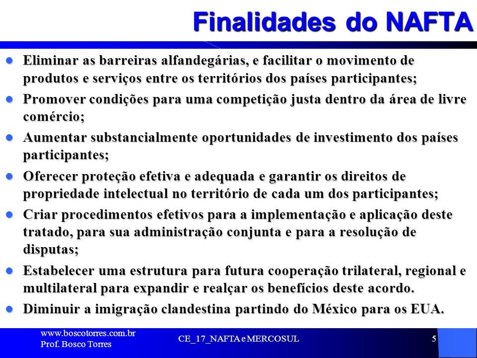 Finalidades do NAFTA Eliminar as barreiras alfandegárias, e facilitar o movimento de produtos e serviços entre os territórios dos países participantes