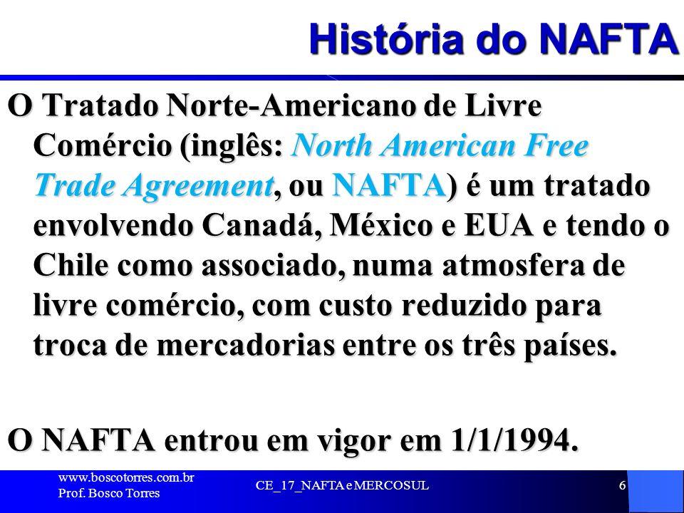 História do NAFTA O Tratado Norte-Americano de Livre Comércio (inglês: North American Free Trade Agreement, ou NAFTA) é um tratado envolvendo Canadá,