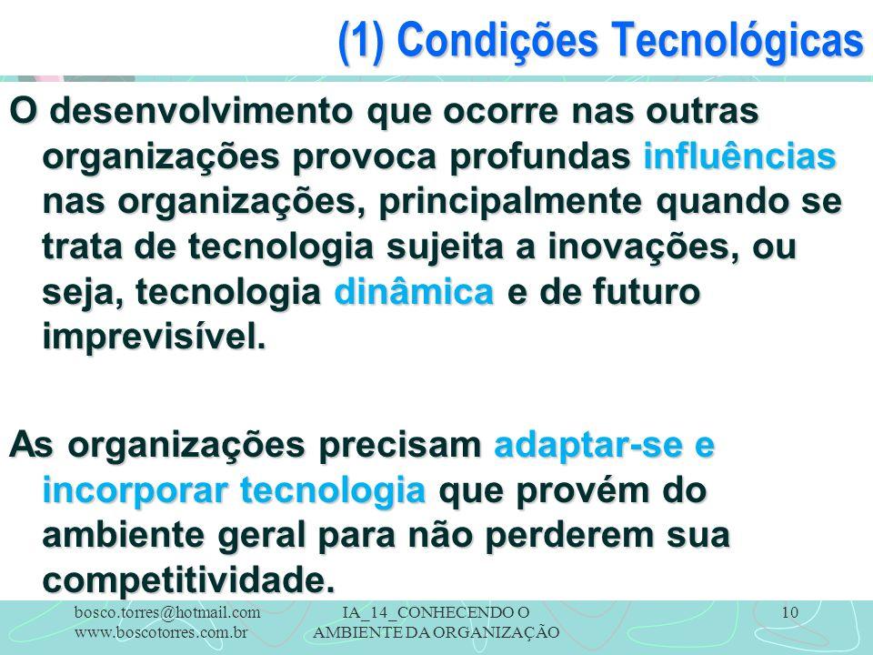 IA_14_CONHECENDO O AMBIENTE DA ORGANIZAÇÃO 10 (1) Condições Tecnológicas O desenvolvimento que ocorre nas outras organizações provoca profundas influê