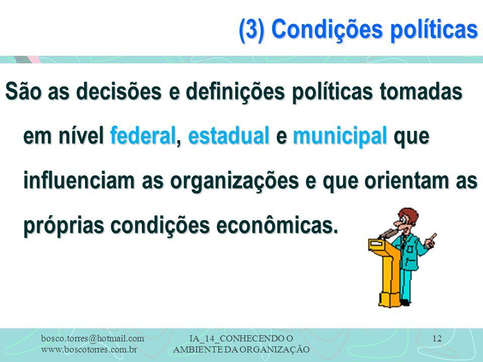 IA_14_CONHECENDO O AMBIENTE DA ORGANIZAÇÃO 12 (3) Condições políticas São as decisões e definições políticas tomadas em nível federal, estadual e muni