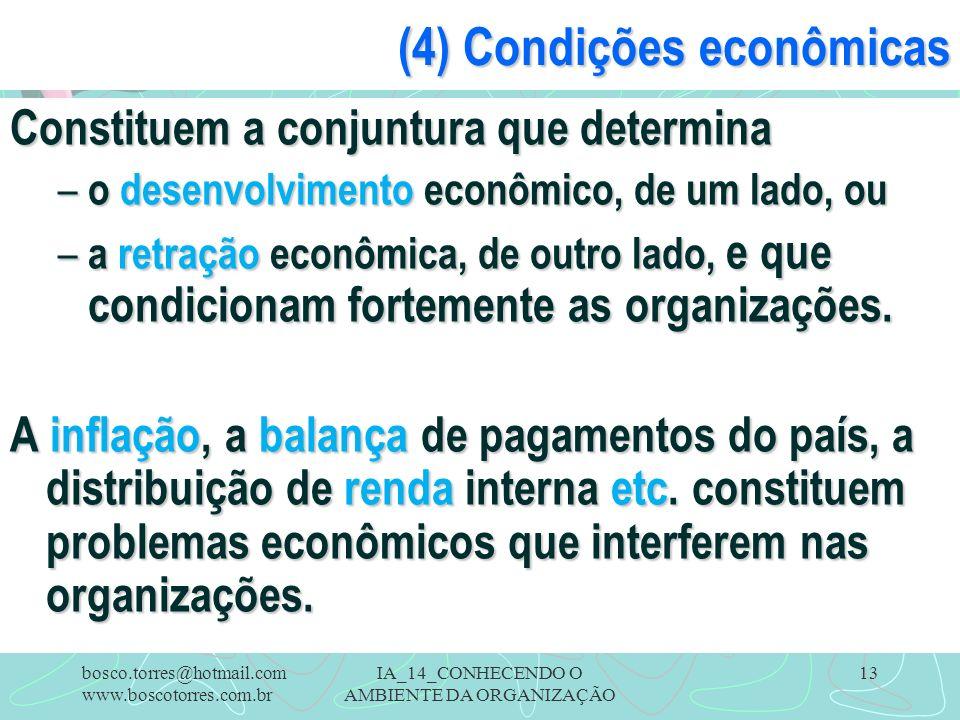 IA_14_CONHECENDO O AMBIENTE DA ORGANIZAÇÃO 13 (4) Condições econômicas Constituem a conjuntura que determina – o desenvolvimento econômico, de um lado