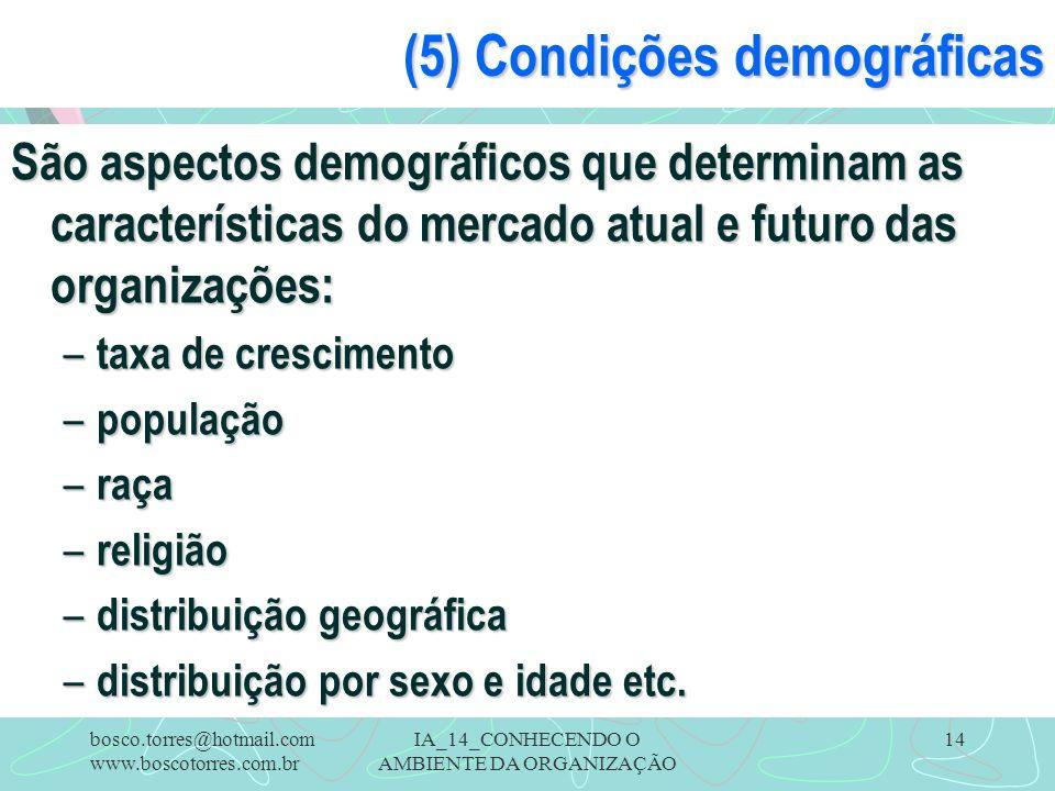 IA_14_CONHECENDO O AMBIENTE DA ORGANIZAÇÃO 14 (5) Condições demográficas São aspectos demográficos que determinam as características do mercado atual