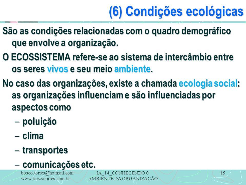 IA_14_CONHECENDO O AMBIENTE DA ORGANIZAÇÃO 15 (6) Condições ecológicas São as condições relacionadas com o quadro demográfico que envolve a organizaçã