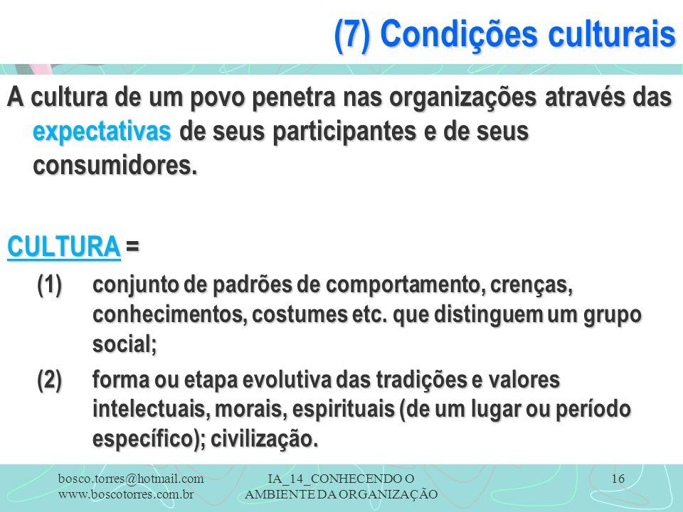 IA_14_CONHECENDO O AMBIENTE DA ORGANIZAÇÃO 16 (7) Condições culturais A cultura de um povo penetra nas organizações através das expectativas de seus p