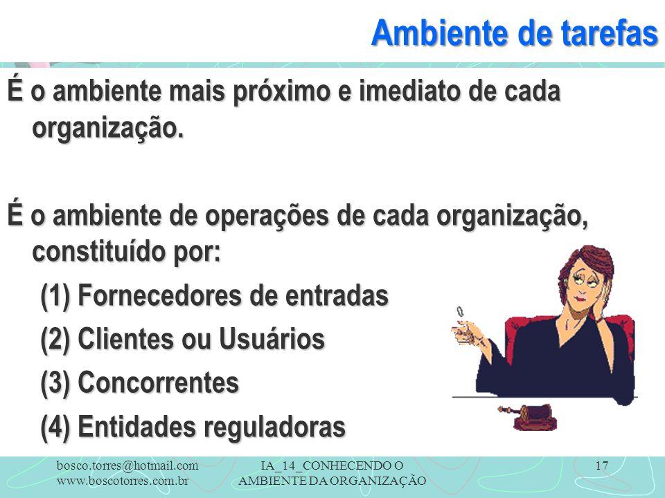 IA_14_CONHECENDO O AMBIENTE DA ORGANIZAÇÃO 17 Ambiente de tarefas É o ambiente mais próximo e imediato de cada organização. É o ambiente de operações