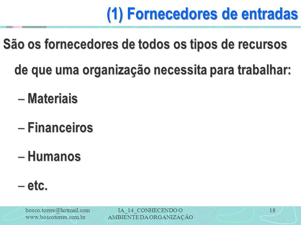 IA_14_CONHECENDO O AMBIENTE DA ORGANIZAÇÃO 18 (1) Fornecedores de entradas São os fornecedores de todos os tipos de recursos de que uma organização ne