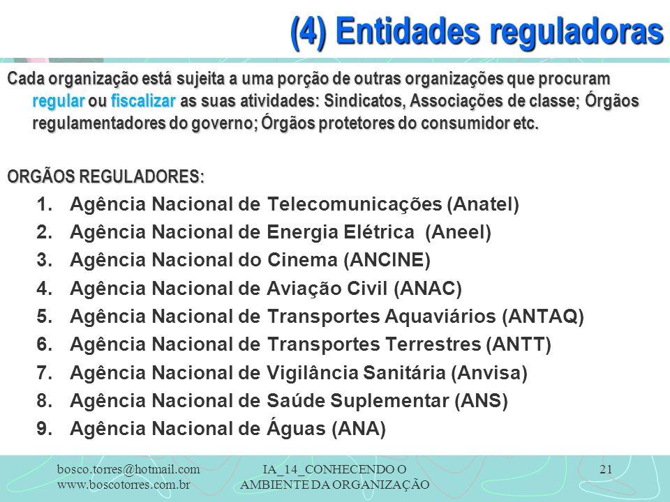 IA_14_CONHECENDO O AMBIENTE DA ORGANIZAÇÃO 21 (4) Entidades reguladoras Cada organização está sujeita a uma porção de outras organizações que procuram