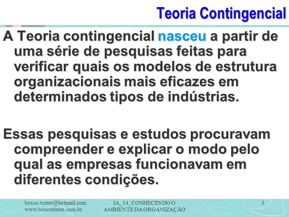 Teoria Contingencial A Teoria contingencial nasceu a partir de uma série de pesquisas feitas para verificar quais os modelos de estrutura organizacion