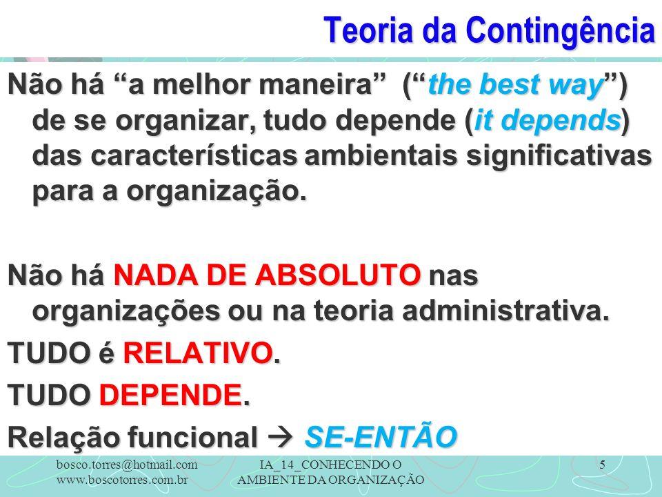 Teoria da Contingência Não há a melhor maneira (the best way) de se organizar, tudo depende (it depends) das características ambientais significativas