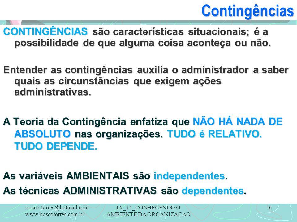 IA_14_CONHECENDO O AMBIENTE DA ORGANIZAÇÃO 6Contingências CONTINGÊNCIAS são características situacionais; é a possibilidade de que alguma coisa aconte