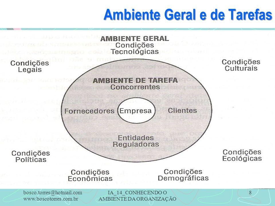 IA_14_CONHECENDO O AMBIENTE DA ORGANIZAÇÃO 8 Ambiente Geral e de Tarefas. bosco.torres@hotmail.com www.boscotorres.com.br