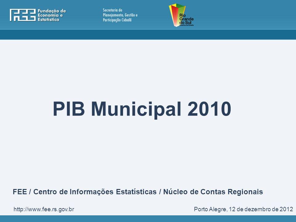 PIB Municipal 2010 Porto Alegre, 12 de dezembro de 2012http://www.fee.rs.gov.br FEE / Centro de Informações Estatísticas / Núcleo de Contas Regionais