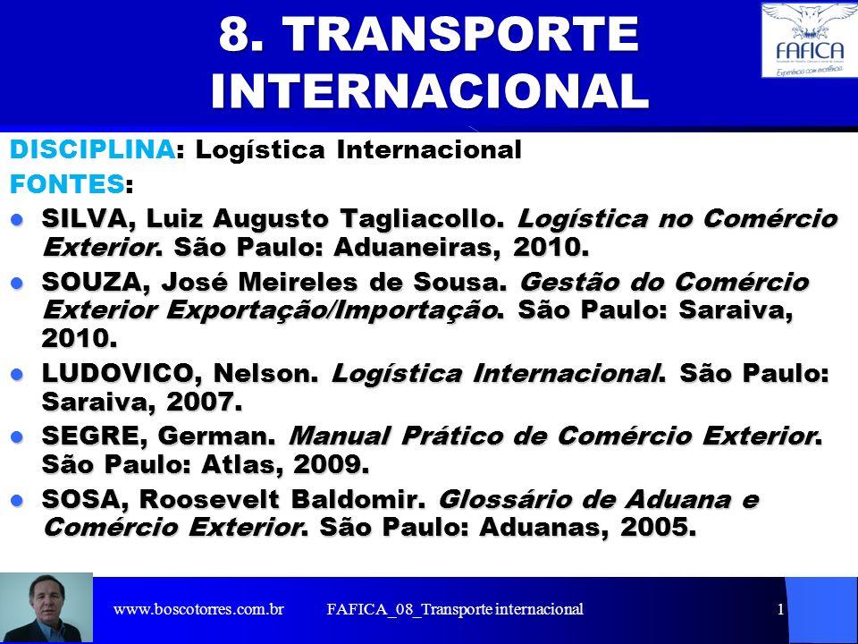 FAFICA_08_Transporte internacional1 8. TRANSPORTE INTERNACIONAL DISCIPLINA: Logística Internacional FONTES: SILVA, Luiz Augusto Tagliacollo. Logística