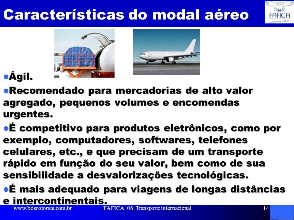 Características do modal aéreo Ágil. Ágil. Recomendado para mercadorias de alto valor agregado, pequenos volumes e encomendas urgentes. Recomendado pa