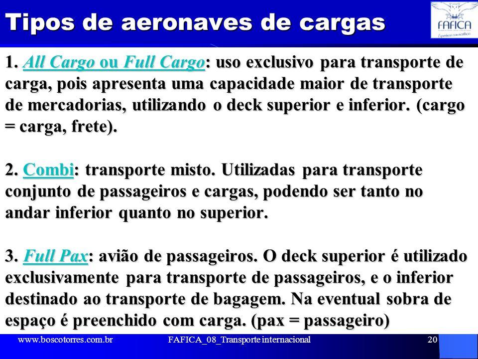 Tipos de aeronaves de cargas 1. All Cargo ou Full Cargo: uso exclusivo para transporte de carga, pois apresenta uma capacidade maior de transporte de