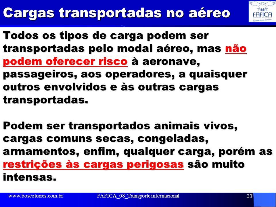 Cargas transportadas no aéreo Todos os tipos de carga podem ser transportadas pelo modal aéreo, mas não podem oferecer risco à aeronave, passageiros,