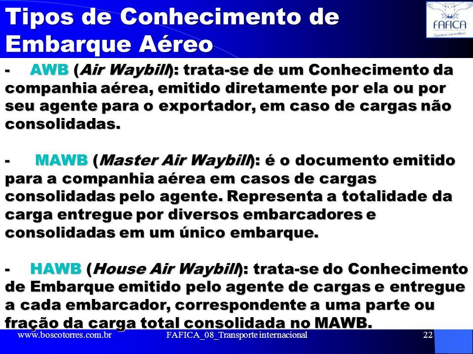 Tipos de Conhecimento de Embarque Aéreo Tipos de Conhecimento de Embarque Aéreo - AWB (Air Waybill): trata-se de um Conhecimento da companhia aérea, e