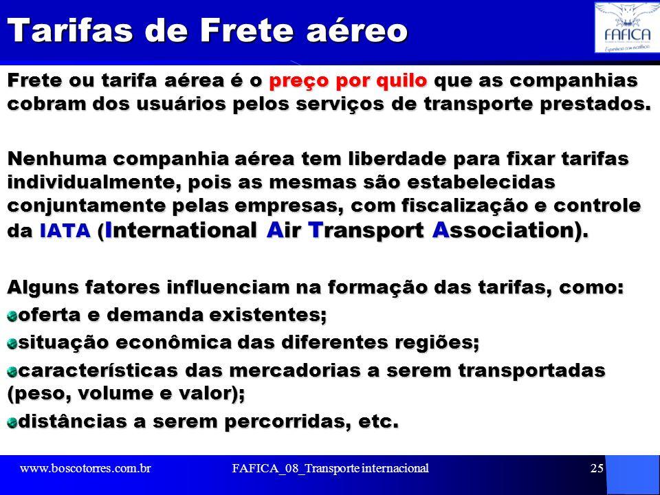 Tarifas de Frete aéreo Frete ou tarifa aérea é o preço por quilo que as companhias cobram dos usuários pelos serviços de transporte prestados. Nenhuma