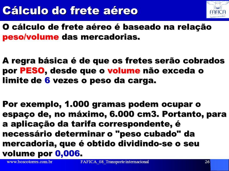 Cálculo do frete aéreo O cálculo de frete aéreo é baseado na relação peso/volume das mercadorias. A regra básica é de que os fretes serão cobrados por