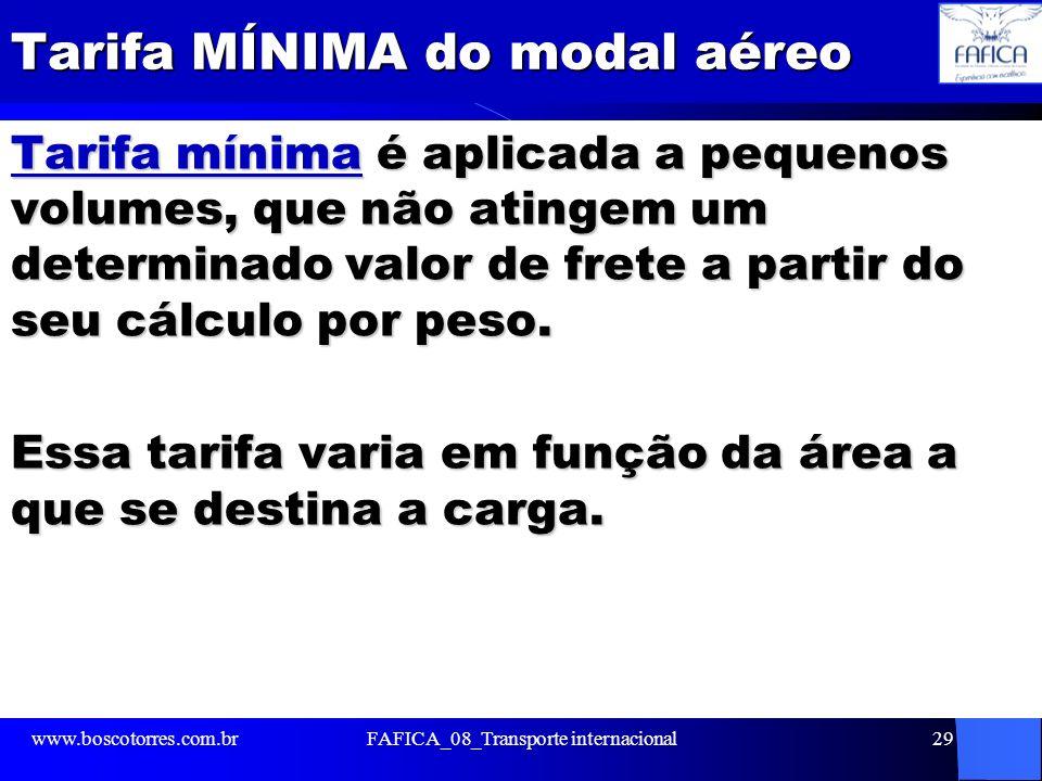 Tarifa MÍNIMA do modal aéreo Tarifa mínima é aplicada a pequenos volumes, que não atingem um determinado valor de frete a partir do seu cálculo por pe