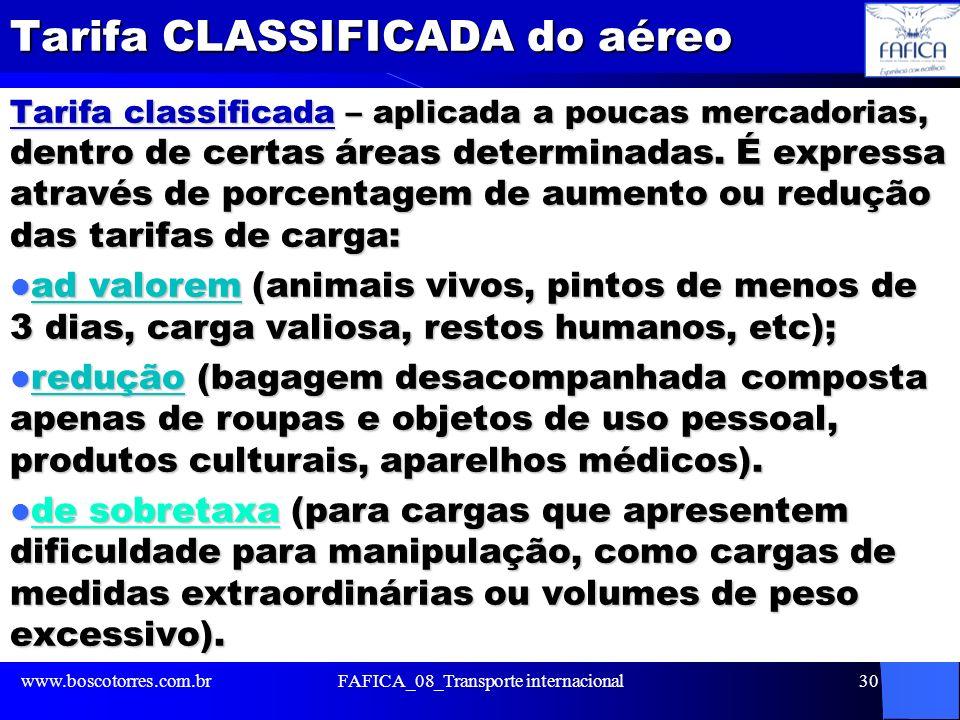 Tarifa CLASSIFICADA do aéreo Tarifa classificada – aplicada a poucas mercadorias, dentro de certas áreas determinadas. É expressa através de porcentag