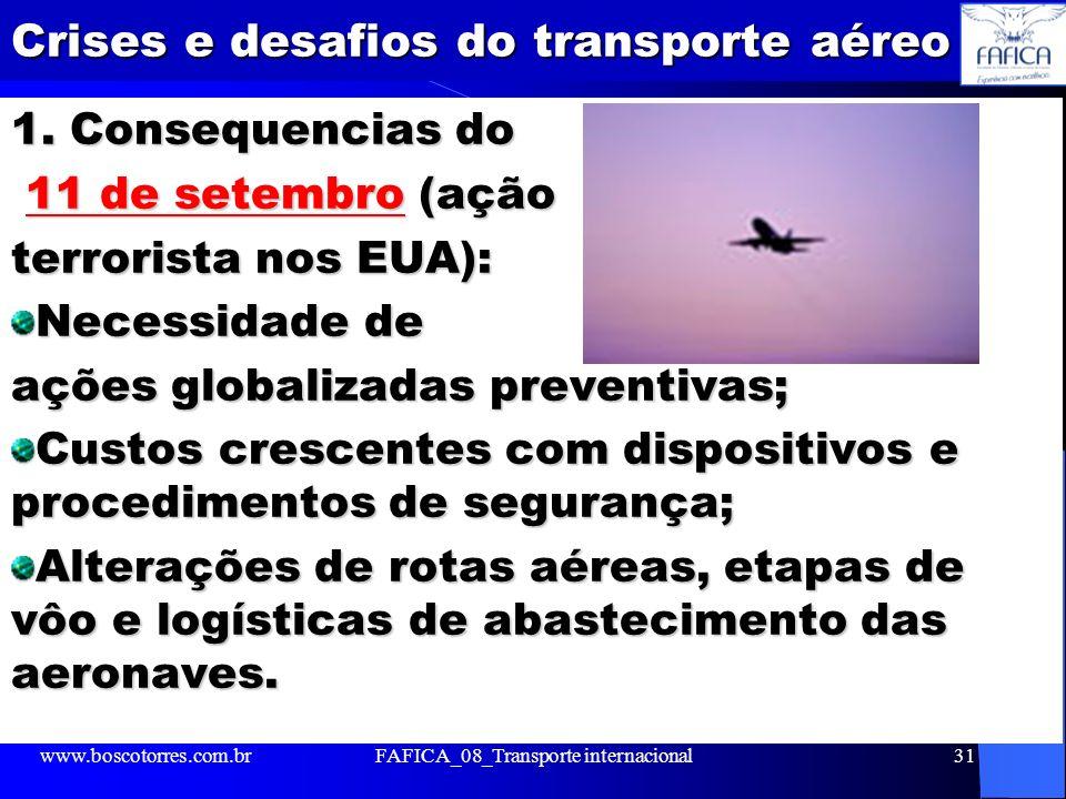 Crises e desafios do transporte aéreo 1. Consequencias do 11 de setembro (ação 11 de setembro (ação terrorista nos EUA): Necessidade de ações globaliz