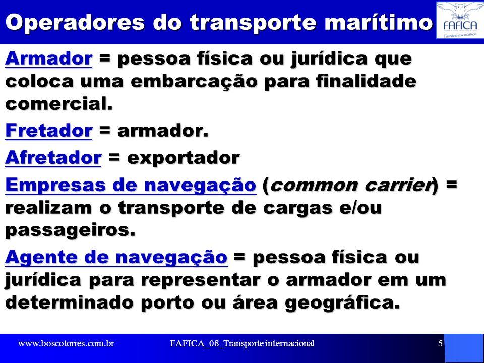 Operadores do transporte marítimo Armador = pessoa física ou jurídica que coloca uma embarcação para finalidade comercial. Fretador = armador. Afretad