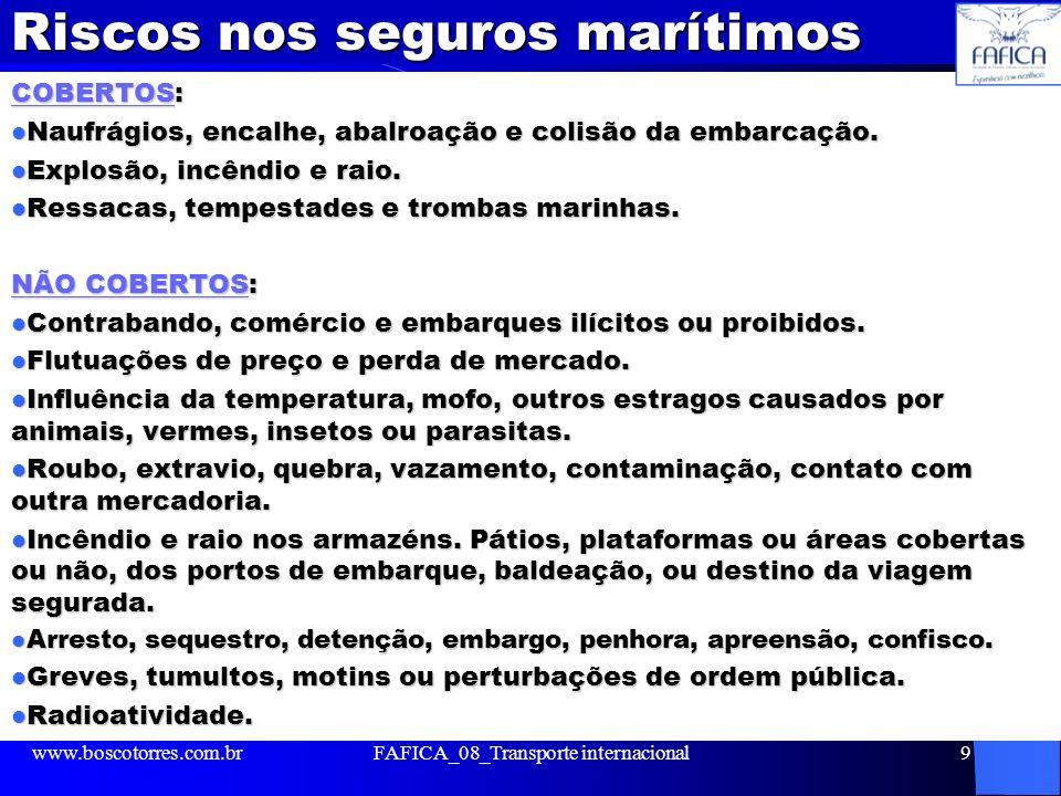 Riscos nos seguros marítimos COBERTOS: Naufrágios, encalhe, abalroação e colisão da embarcação. Naufrágios, encalhe, abalroação e colisão da embarcaçã