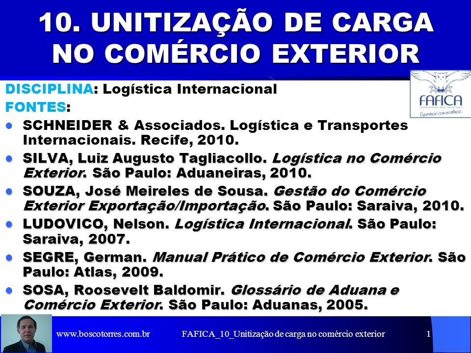 FAFICA_10_Unitização de carga no comércio exterior1 10. UNITIZAÇÃO DE CARGA NO COMÉRCIO EXTERIOR DISCIPLINA: Logística Internacional FONTES: SCHNEIDER