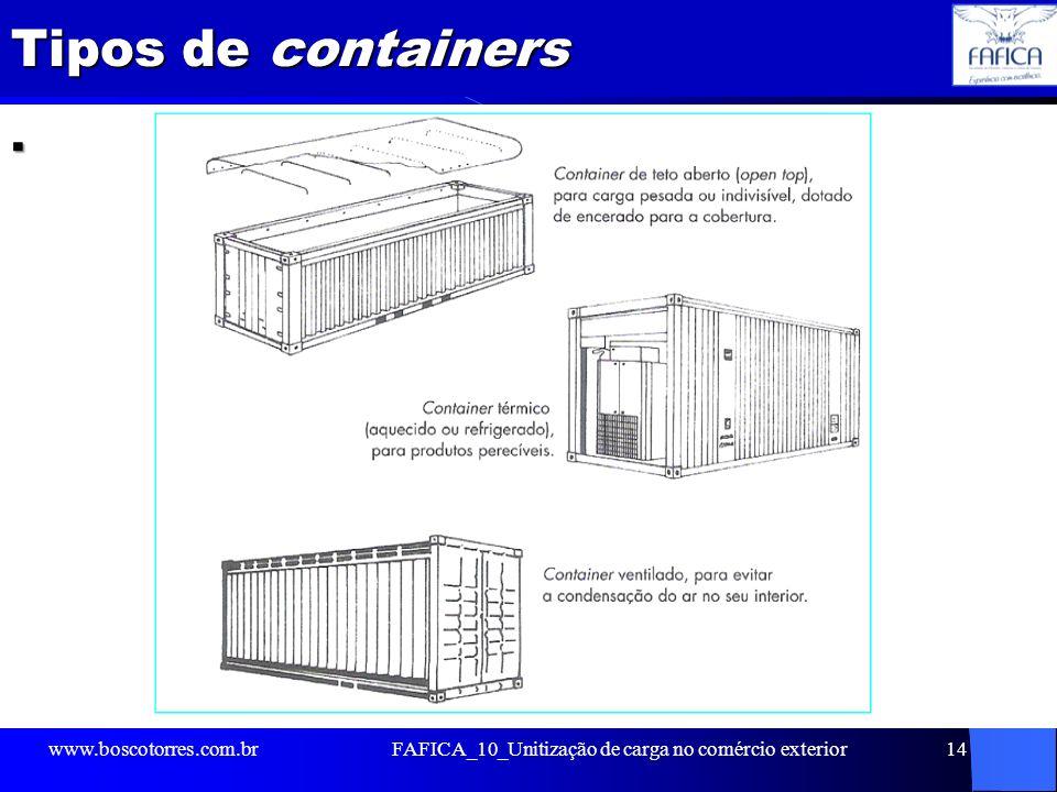 Tipos de containers. www.boscotorres.com.brFAFICA_10_Unitização de carga no comércio exterior14