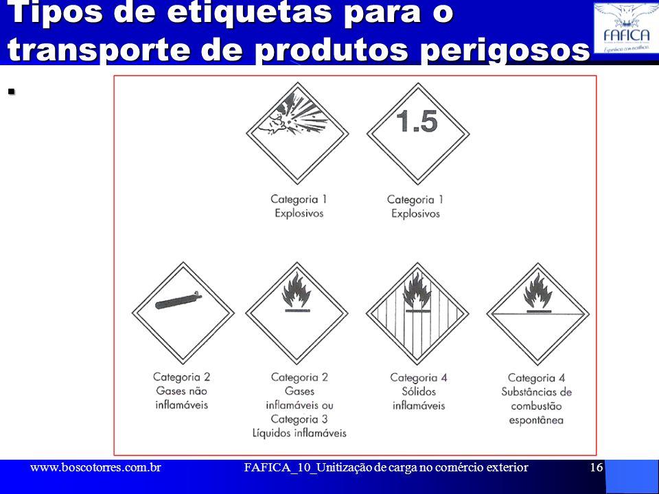 Tipos de etiquetas para o transporte de produtos perigosos. www.boscotorres.com.brFAFICA_10_Unitização de carga no comércio exterior16