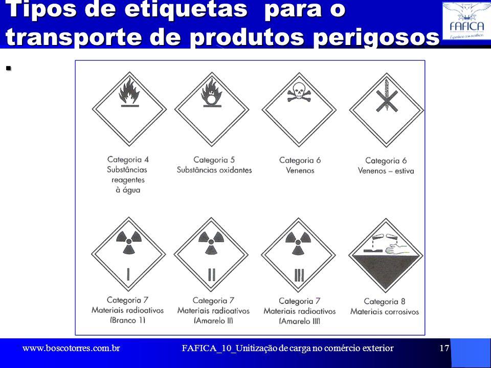 Tipos de etiquetas para o transporte de produtos perigosos. www.boscotorres.com.brFAFICA_10_Unitização de carga no comércio exterior17