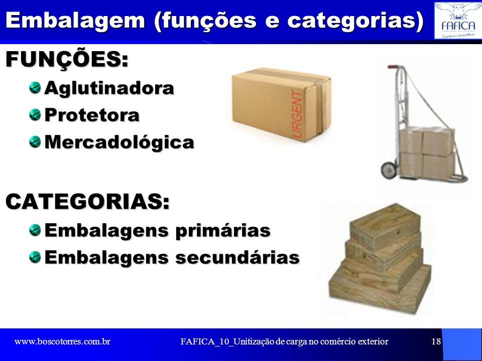 Embalagem (funções e categorias) FUNÇÕES:AglutinadoraProtetoraMercadológicaCATEGORIAS: Embalagens primárias Embalagens secundárias www.boscotorres.com