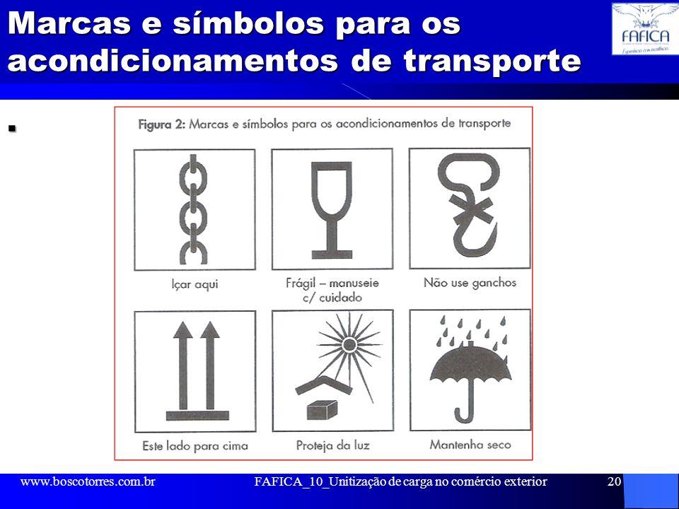 Marcas e símbolos para os acondicionamentos de transporte. www.boscotorres.com.brFAFICA_10_Unitização de carga no comércio exterior20