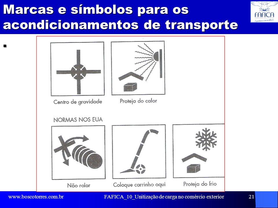 Marcas e símbolos para os acondicionamentos de transporte. www.boscotorres.com.brFAFICA_10_Unitização de carga no comércio exterior21