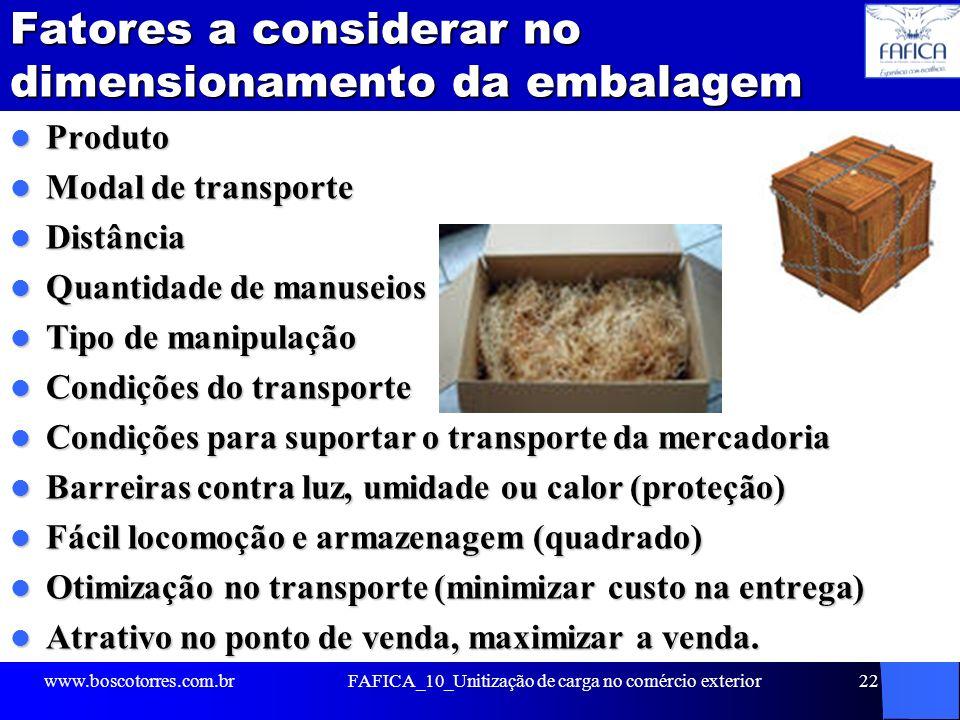 Fatores a considerar no dimensionamento da embalagem Produto Produto Modal de transporte Modal de transporte Distância Distância Quantidade de manusei