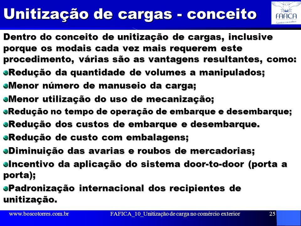 Unitização de cargas - conceito Dentro do conceito de unitização de cargas, inclusive porque os modais cada vez mais requerem este procedimento, vária