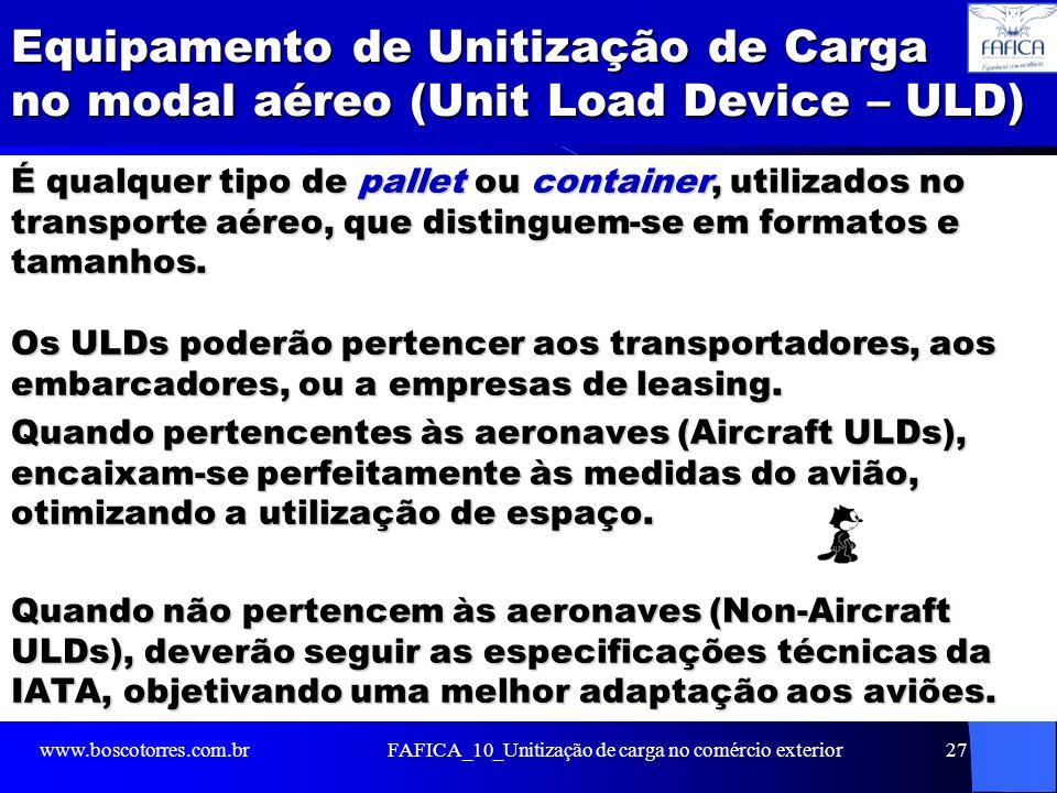 Equipamento de Unitização de Carga no modal aéreo (Unit Load Device – ULD) É qualquer tipo de pallet ou container, utilizados no transporte aéreo, que distinguem-se em formatos e tamanhos.