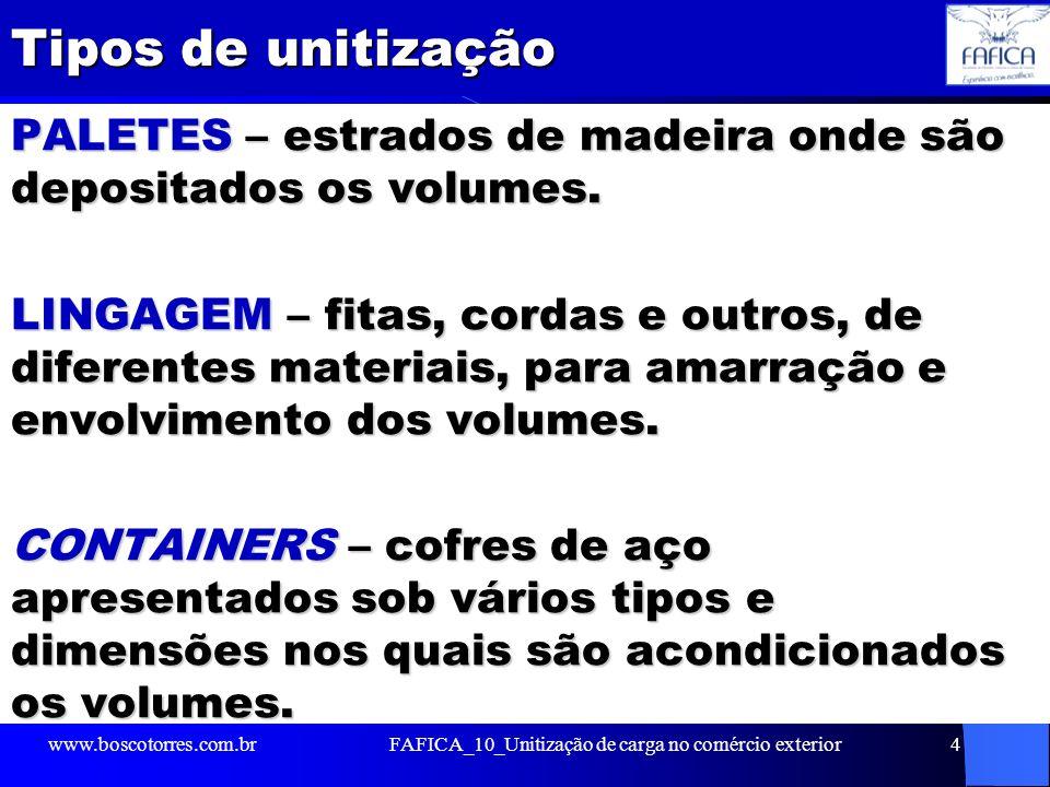 Paletes O palete (ou pallet em inglês) é o unitizador empregado para a união das mercadorias na paletização.