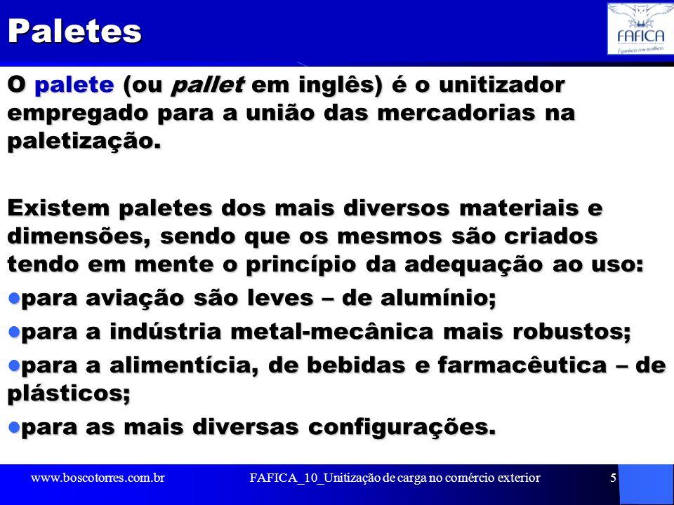 Paletes O palete (ou pallet em inglês) é o unitizador empregado para a união das mercadorias na paletização. Existem paletes dos mais diversos materia
