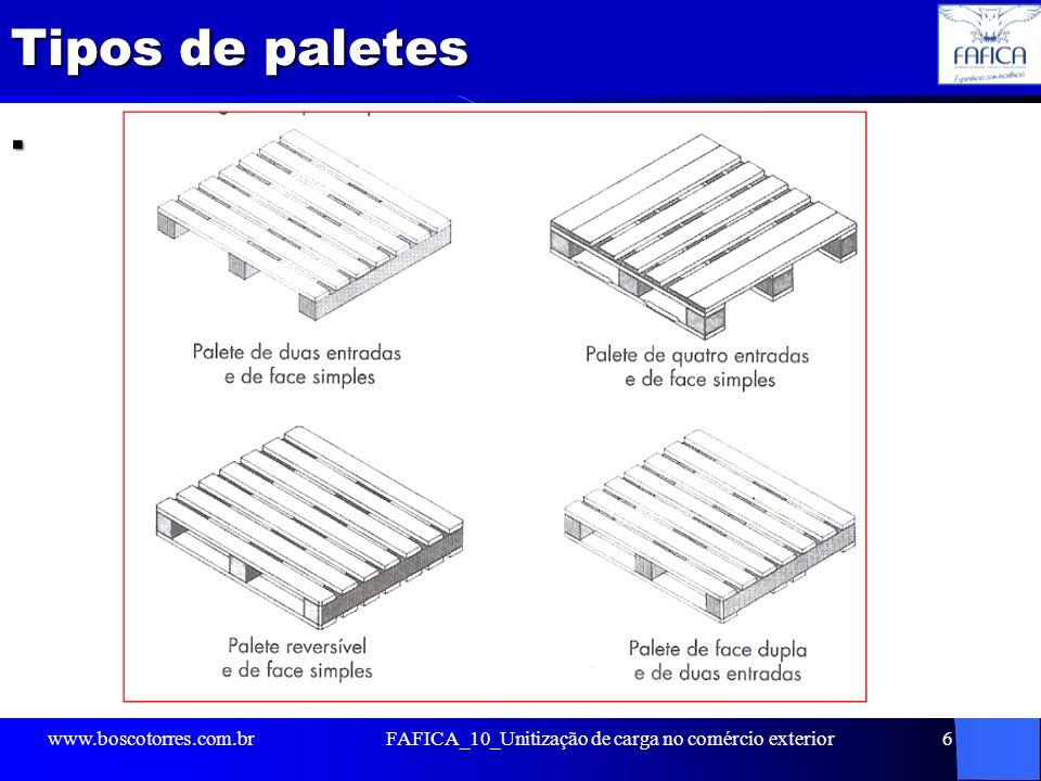Tipos de paletes. www.boscotorres.com.brFAFICA_10_Unitização de carga no comércio exterior6
