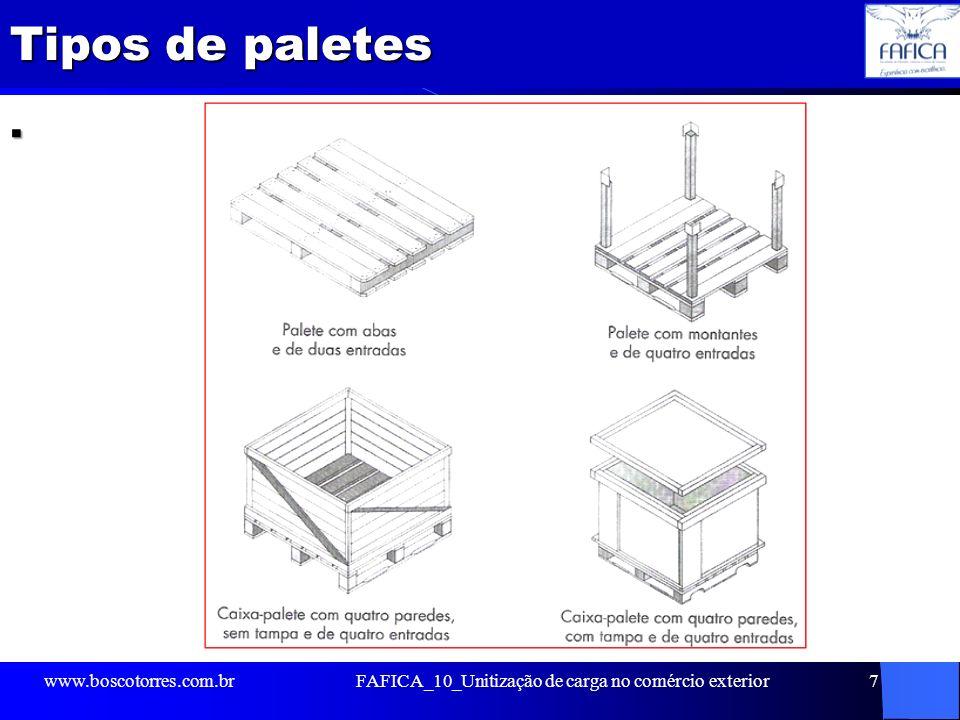 Tipos de paletes. www.boscotorres.com.brFAFICA_10_Unitização de carga no comércio exterior7