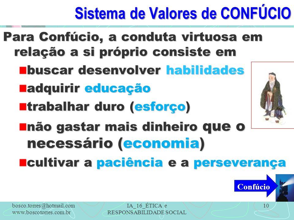 Sistema de Valores de CONFÚCIO Para Confúcio, a conduta virtuosa em relação a si próprio consiste em buscar desenvolver habilidades adquirir educação