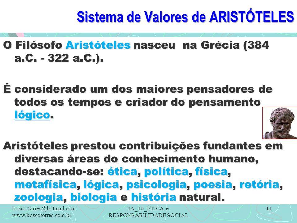 Sistema de Valores de ARISTÓTELES O Filósofo Aristóteles nasceu na Grécia (384 a.C. - 322 a.C.). É considerado um dos maiores pensadores de todos os t