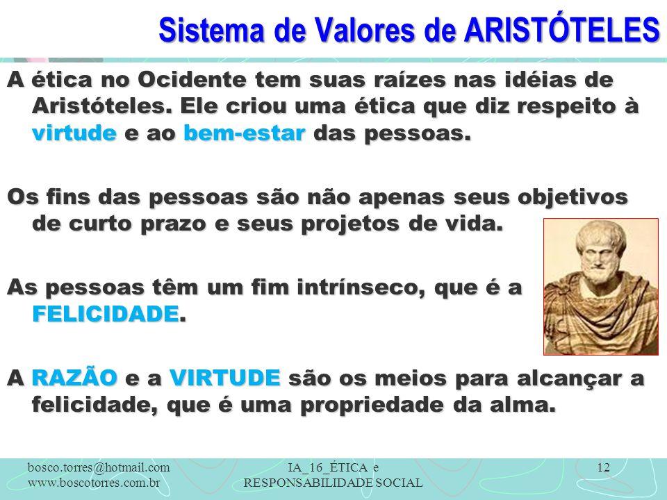 Sistema de Valores de ARISTÓTELES A ética no Ocidente tem suas raízes nas idéias de Aristóteles. Ele criou uma ética que diz respeito à virtude e ao b