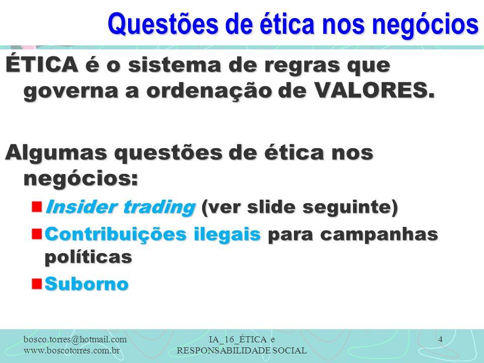 Questões de ética nos negócios ÉTICA é o sistema de regras que governa a ordenação de VALORES. Algumas questões de ética nos negócios: Insider trading